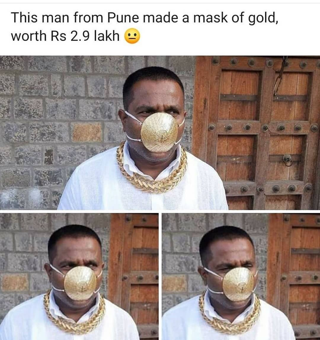 Gold mask worth Rs 2.90 lakh in Pune